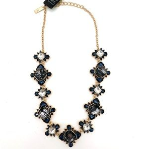 InC Gold Statement Bib Blue Diamond Necklace NEW